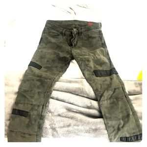 BlankNYC army jeans with leather detail